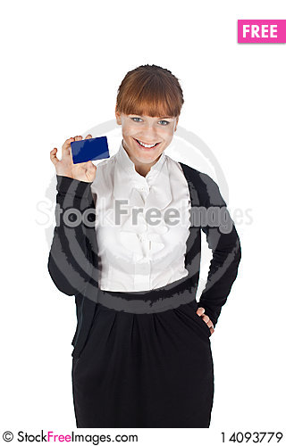 Free Elegance Girl With Blank Card Royalty Free Stock Images - 14093779