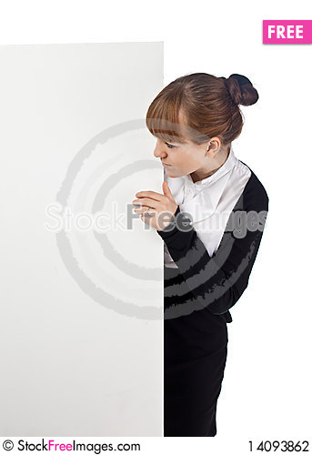 Free Girl With Blank Whiteboard Stock Photography - 14093862
