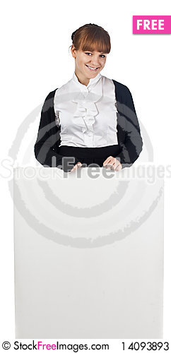 Free Girl With Blank Whiteboard Stock Photos - 14093893