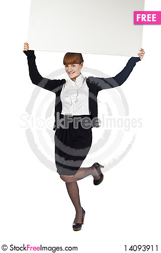 Free Girl Hold Blank Whiteboard Over Head Stock Image - 14093911