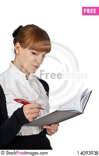 Free Elegance Girl With Notebook And Pen Royalty Free Stock Photos - 14093938