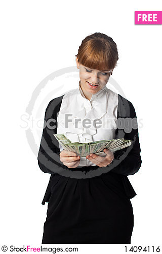 Free Girl Win Lots Of Money Royalty Free Stock Image - 14094116