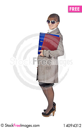 Free Smiling Elegance Girl Hold Documents Stock Photography - 14094312