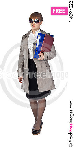 Free Smiling Elegance Girl Hold Documents Stock Photography - 14094322
