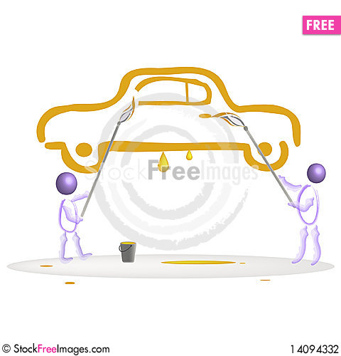 Free The Drawn Car. Stock Photography - 14094332