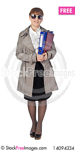 Free Smiling Elegance Girl Hold Documents Stock Images - 14094334