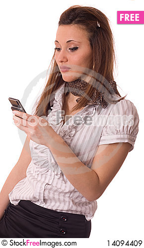 Free Young Woman With Mobile Phone. Royalty Free Stock Images - 14094409