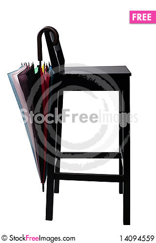 Free Chair And Colored Umbrella Royalty Free Stock Images - 14094559