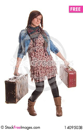 Free Girl With Baggage Royalty Free Stock Photos - 14095038
