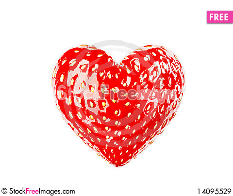 Free Heart Made From Strawberry Royalty Free Stock Images - 14095529