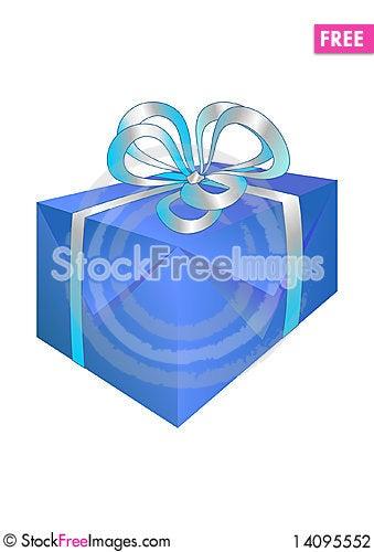 Free Beautiful Blue Gift Box Stock Photography - 14095552