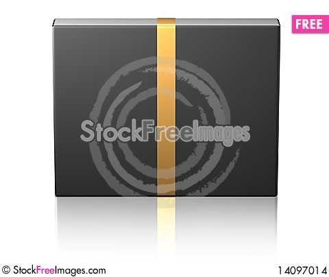 Free Black Box With A Golden Ribbon Stock Images - 14097014