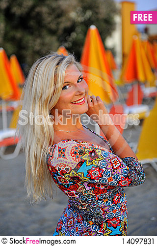 Free Young Pretty Woman On The Beach Stock Image - 14097831