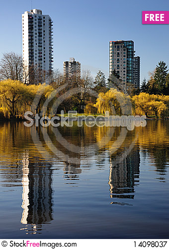 Free Reflected Buildings At Lost Lagoon Royalty Free Stock Photography - 14098037