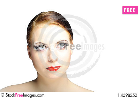 Free Young Beauty Female Face With Red Shiny Lips Stock Photography - 14098252