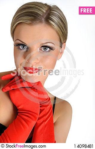 Free Elegant Beauty Female Face With Red Shiny Lips Stock Image - 14098481