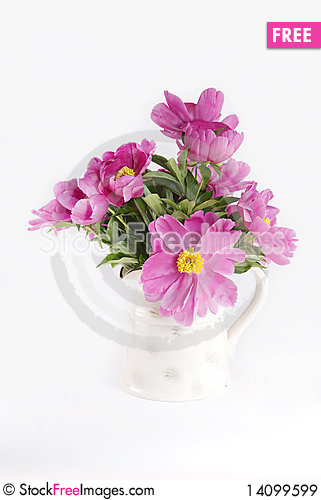 Free Pink Peonies In Vase Royalty Free Stock Images - 14099599