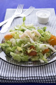 Fresh Salad With Shrimp And Tomato Stock Photos