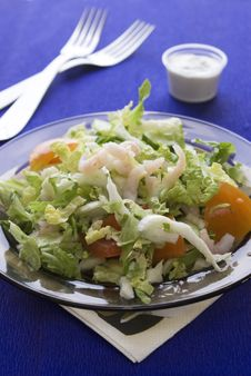 Free Fresh Salad With Shrimp And Tomato Royalty Free Stock Image - 14090656