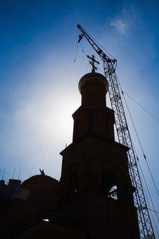 Building Russian Christian Orthodox Church. Stock Photography