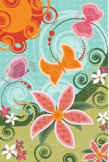 Free Invitation Card With Butterflies And Flowers Stock Photos - 14091343