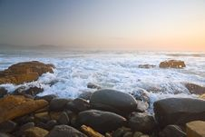 Free Rocky Beach At Sunrise, South Africa Stock Photography - 14091782