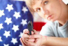 Woman With Gun Aiming At Something Stock Images