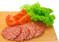 Slices Of Salami And Tomatoes