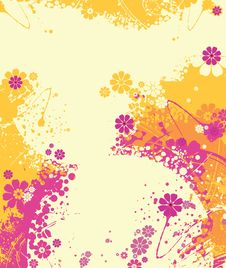 Flowers With Splashes And Wavy Lines. Stock Photos