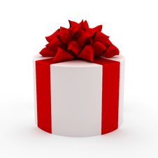 Free White Gift With Red Ribbon Stock Image - 14092991