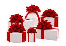 White Gifts With Red Ribbons