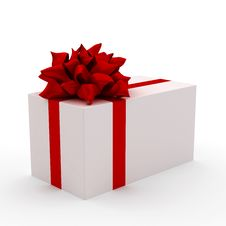 Free White Gift With Red Ribbon Royalty Free Stock Image - 14093076