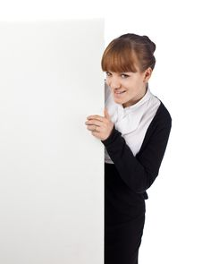 Girl With Blank Whiteboard Royalty Free Stock Images