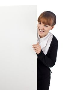 Girl With Blank Whiteboard Royalty Free Stock Image