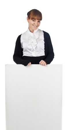 Girl With Blank Whiteboard Stock Photos