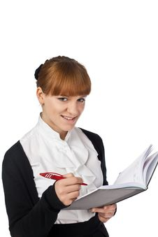 Elegance Girl With Notebook And Pen Stock Photo