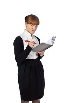 Elegance Girl With Notebook And Pen Royalty Free Stock Photos