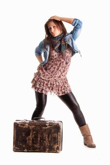 Free Girl With Baggage Royalty Free Stock Photos - 14094998