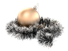 Free Christmas Sphere With Tinsel Stock Photo - 14095420