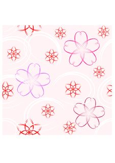 Free Seamless Pattern - Pink Flowers Stock Images - 14095574