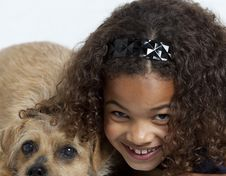 Free Close Up Of Little Girl With Dog Royalty Free Stock Image - 14095916