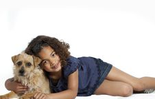 Free Little Girl With Frizzy Hair Hugging Dog Royalty Free Stock Photos - 14095918