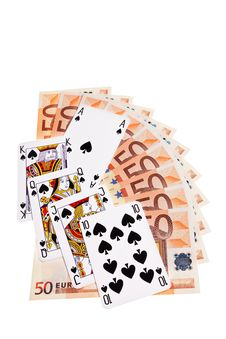 Spades Cards And 50 Euro Banknotes. Royalty Free Stock Image