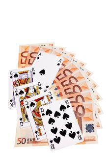 Spades Cards And 50 Euro Banknotes.