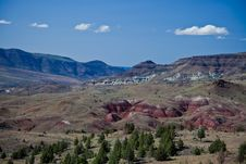 River Valley, Painted Hills And Blue Basin Royalty Free Stock Image