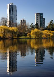 Reflected Buildings At Lost Lagoon Royalty Free Stock Photography