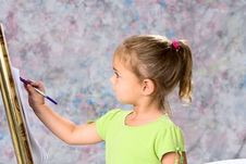 Free Little Girl And Water Colors Royalty Free Stock Photo - 14098255