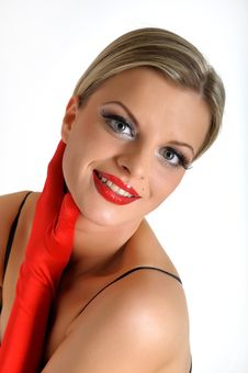 Free Elegant Beauty Female Face With Red Shiny Lips Stock Photography - 14098462
