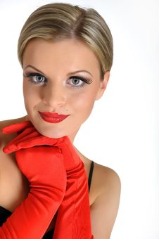 Free Elegant Beauty Female Face With Red Shiny Lips Stock Image - 14098481