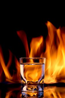 Free Glass Of Alcoholic Fire Water Royalty Free Stock Photos - 14098708